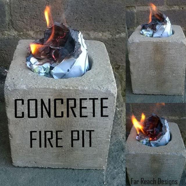 به کارگیری مبلمان بتنی به عنوان آتشدان