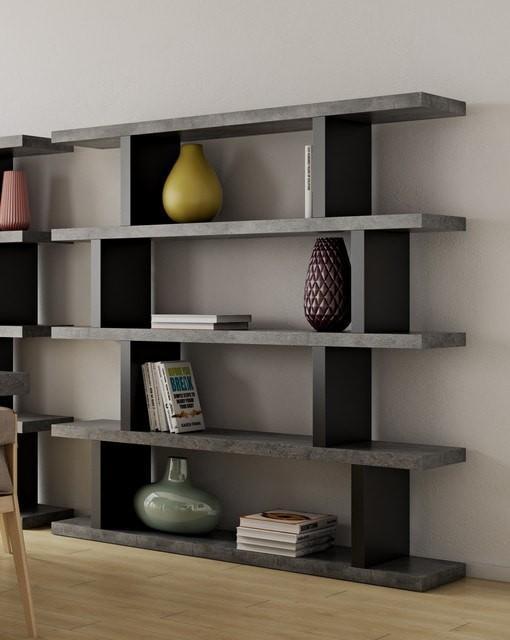 طراحی مبلمان بتنی به عنوان قفسه کتابخانه
